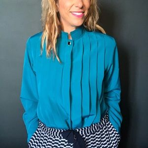 1970-80's Turquoise Blouse with Mandarin Collar